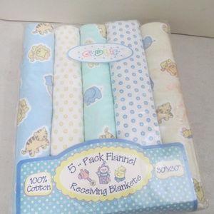 "VTG 90's baby receiving blanket 30""x30"" flannel"